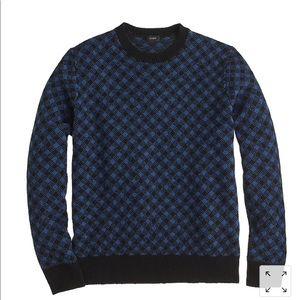 J crew men's lambswool diamond check sweater